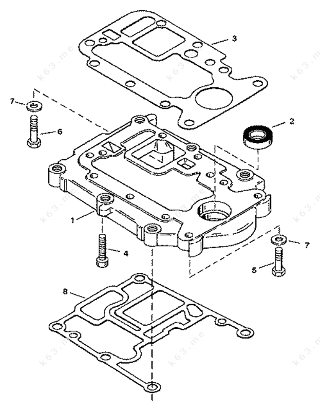 Mercury force 40 h p 1997 adapter plate upper parts for Force outboard motor parts diagram