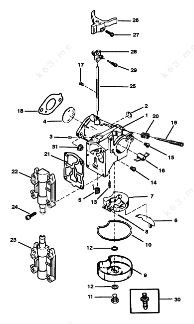 mercury  mariner 40 4 cyl   carburetor assembly