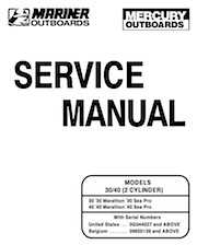 1997+ Mercury 35/40HP 2 Cylinder Outboards Service Manual PN 90-826148R2
