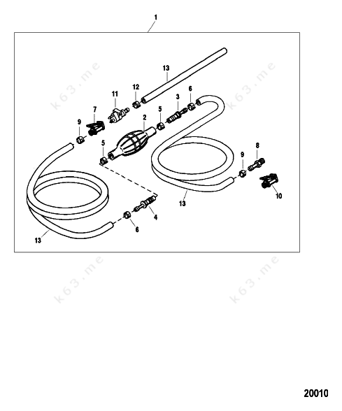 Mercury force 75 h p 1999 fuel line assembly parts catalog for Force outboard motor parts diagram