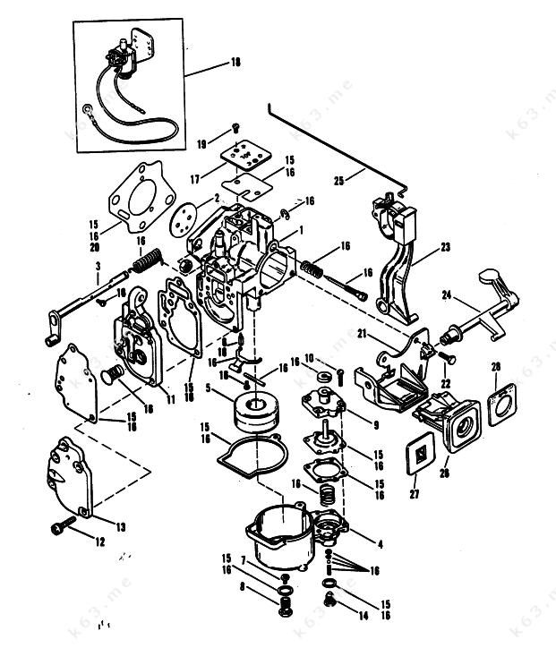 mercury mariner 25xd carburetor merc 25 mariner 25. Black Bedroom Furniture Sets. Home Design Ideas